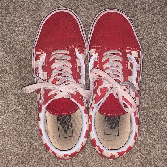Vans Shoes | Red Checkered Lace Up Vans